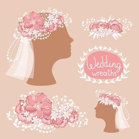 coronal: Floral wedding wreath on the heads. Flower diadem. Vector illustration.
