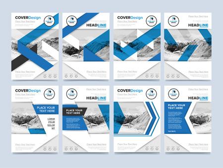 Brochure dekking presentatie design template vector. Blue jaarverslag abstracte vlakke achtergrond. Folder lay-out. Collectief document. Zakelijke brochure concept.