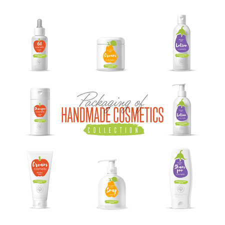 body wrap: Handmade cosmetic brand vector packaging template, body care product. Oil, lotion or soap, shampoo, cream. Realistic bottle mock up set isolated on white background.