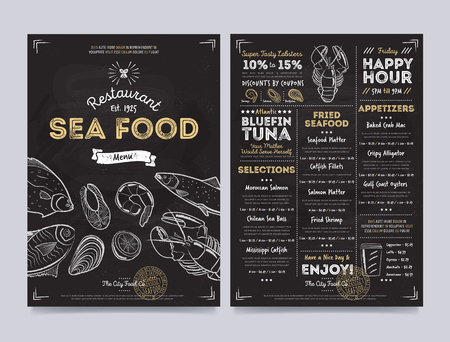shrimp cocktail: Seafood restaurant cafe menu template design on chalkboard background vector illustration