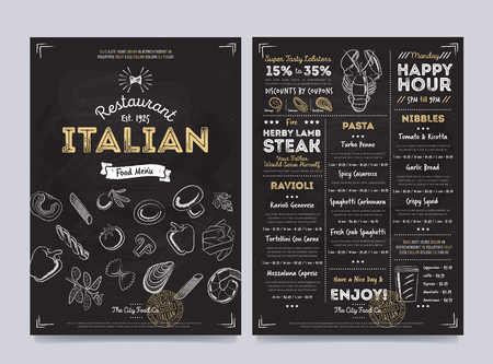 Italian restaurant cafe menu template design on chalkboard background vector illustration Vector Illustration