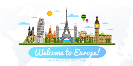 Welcome to Europe, travel on the world concept, traveling flat vector illustration.