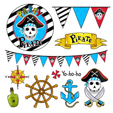 steering wheel: Pirate party elements for birthday, steering wheel, sword, flags, bottle and other pirate symbols.