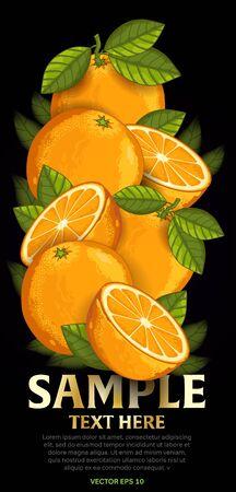 fruit and veg: Orange fruit mix with leaves on black background vector illustration. Organic vegetarian product. Healthy food. Illustration