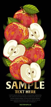 mix fruit: Apple fruit mix with leaves on black background vector illustration. Organic vegetarian product. Healthy food. Illustration