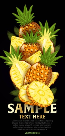 fruit and veg: Pineapple fruit mix with leaves on black background vector illustration. Organic vegetarian product. Healthy food. Illustration