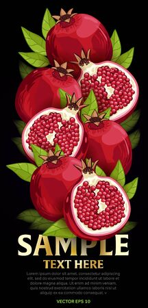 fruit and veg: Pomegranate fruit mix with leaves on black background vector illustration. Organic vegetarian product. Healthy food.