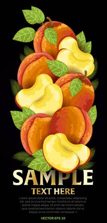 fructose: Peach fruit mix with leaves on black background vector illustration. Organic vegetarian product. Healthy food.