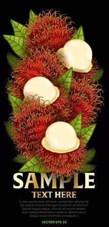 fructose: Rambutan fruit mix with leaves on black background vector illustration. Organic vegetarian product. Healthy food. Illustration