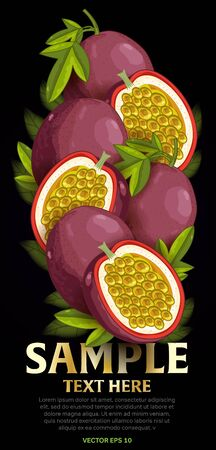 fructose: Passion fruit mix with leaves on black background vector illustration. Organic vegetarian product. Healthy food.