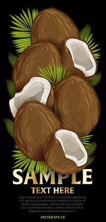 mix fruit: Coconut fruit mix with leaves on black background vector illustration. Organic vegetarian product. Healthy food. Illustration