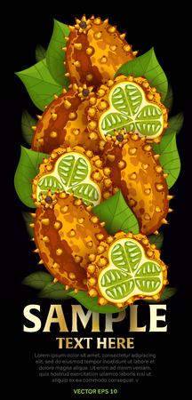 product mix: Horn melon fruit mix with leaves on black background vector illustration. Organic vegetarian product. Healthy food.