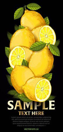 fruit and veg: Lemon fruit mix with leaves on black background vector illustration. Organic vegetarian product. Healthy food.