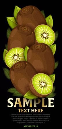 fruit and veg: Kiwi, fruit mix with leaves on black background vector illustration. Organic vegetarian product. Healthy food.