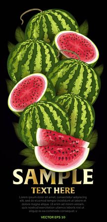 mix fruit: Watermelon fruit mix with leaves on black background vector illustration. Organic vegetarian product. Healthy food.