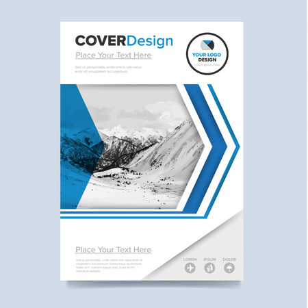 booklet design: Brochure cover presentation design template vector. Blue annual report abstract flat background. Leaflet layout. Corporate document. Business booklet concept.