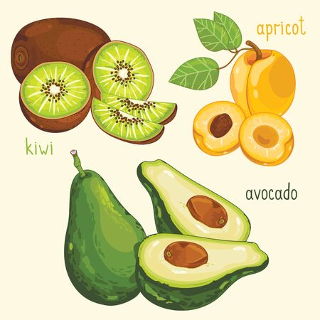 mix fruit: Set of fruit mix vector isolated. Healthy eat. Kiwi, apricot and avocado fruit. Natural organic food. Ingredients for a vegetarian meal. Sweet and ripe summer fruit. Illustration