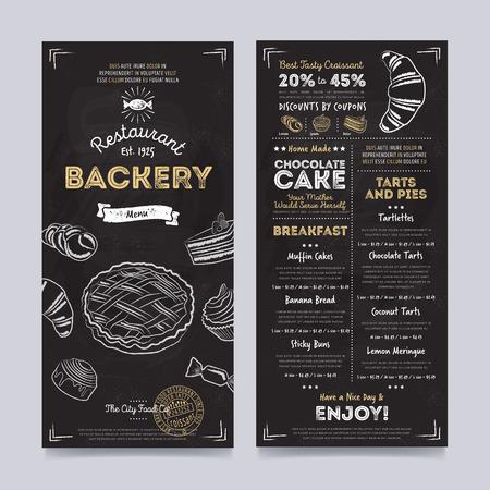 Bakkerij cafe restaurant menu template ontwerp op bord achtergrond vector illustratie