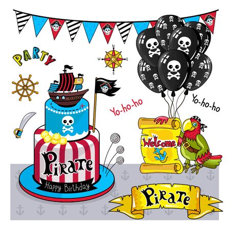 Pirate party elements for birthday, steering wheel, flags, sword and other pirate symbols.