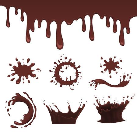 Realistische chocolade splash op blauwe achtergrond vector illustratie