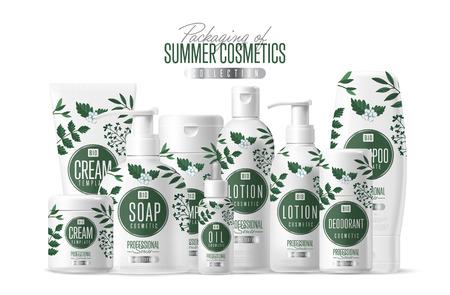 Plantilla orgánica cosmética vector de la marca de embalaje, productos de cuidado corporal. Aceite, loción o jabón, champú, crema. realista botella burlarse de conjunto, el paquete aislado en el fondo blanco. Foto de archivo - 59605679