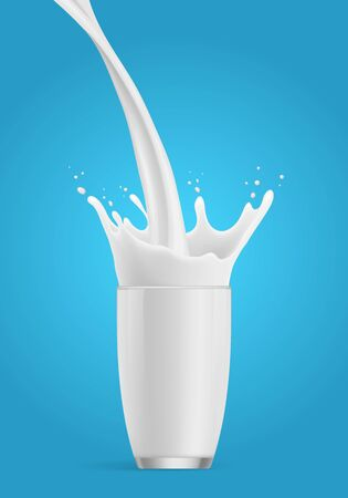 Milk splash in a glass. Milk poured into glass. Glass of milk on a blue background. Vector splash.