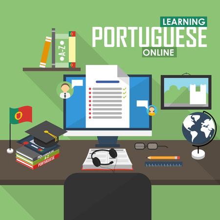 portuguese: Flat design vector illustration concept of learning Portuguese language online, distance education and online training courses. Portuguese online.