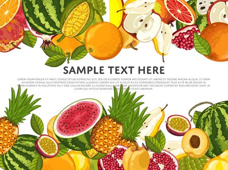 fructose: Fruit mix with leaves on wite background vector illustration