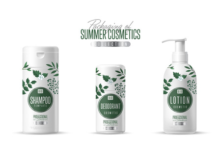 body wrap: Organic cosmetic brand vector packaging template, body care product. Oil, lotion or soap, shampoo, cream. Realistic bottle mock up set, isolated pack on white background.