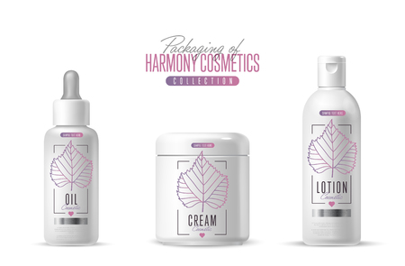body wrap: Harmony organic cosmetic brand vector packaging template, body care product. Oil, lotion or soap, shampoo, cream. Realistic bottle mock up set, isolated pack on white background.