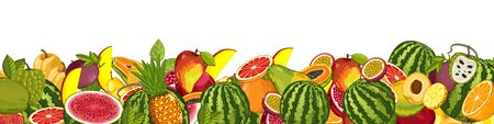 fruit and veg: Fruit mix with leaves on wite background vector illustration