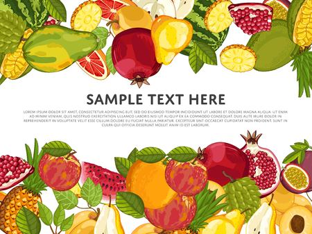 Fruit mix with leaves on wite background vector illustration