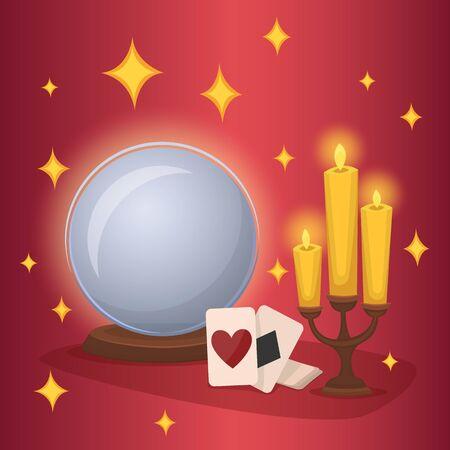 esoterismo: Bola de cristal y las tarjetas de adivinación. Concepto del esoterismo y la adivinación. Trucos de magia. Ilustración del vector.