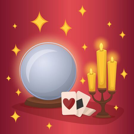 esoterismo: Crystal ball and fortunetelling cards. Concept of esotericism and divination. Magic tricks. Vector illustration.
