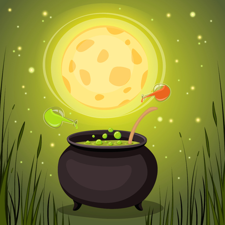elixir: Cauldron with magical potion in a dark forest. Magic Elixir vector illustration.