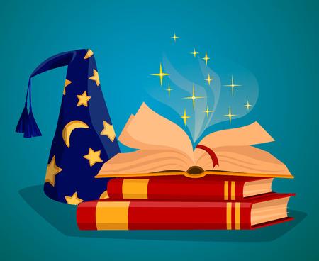 spells: Cap wizard and Book of magic spells and magic tricks concepts cartoon style vector illustration Illustration