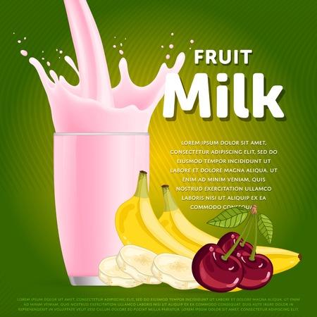 mix fruit: Fruit mix sweet milkshake dessert cocktail glass fresh drink in cartoon vector illustration