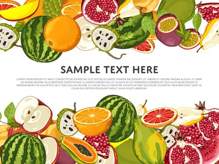 mix: Fruit mix with leaves on wite background vector illustration