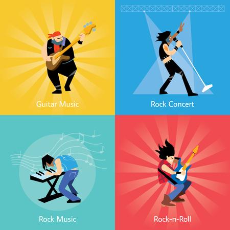 Roca grupo de música de banda con músicos concepto de ilustración artística personas del vector