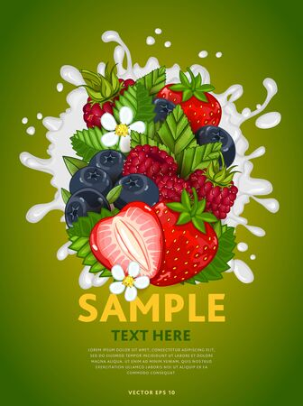 mix: Berries mix composition in milk splash vector illustration
