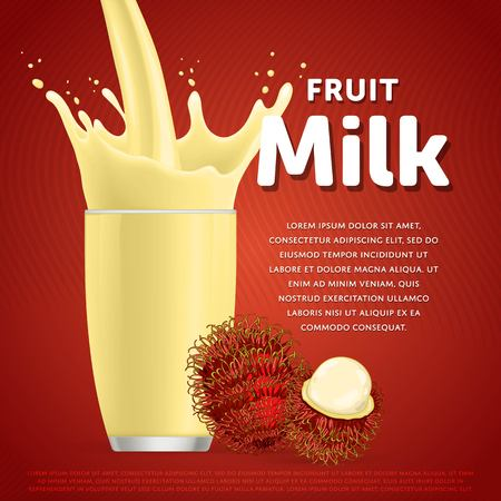 rambutan: Rambutan sweet milkshake dessert cocktail glass fresh drink in cartoon vector illustration