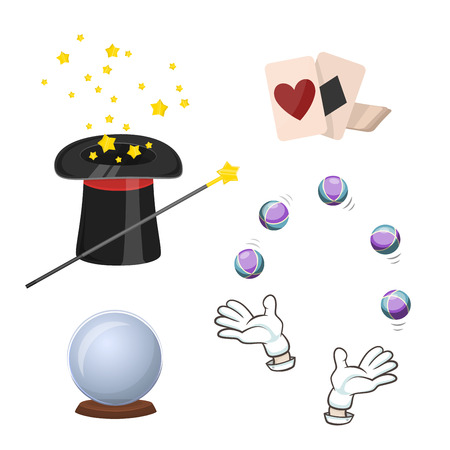 divination: Set of icons for divination and magic tricks. Playing cards, magician hat, ball for divination and other icons. Cartoon style. Vector illustration.