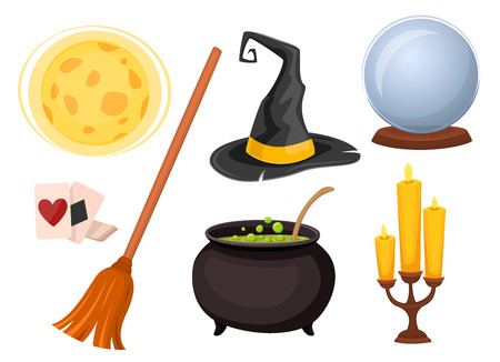divination: Set of icons for divination and magic tricks. Wizard hat, broom ball for divination and other icons. Cartoon style. Vector illustration.