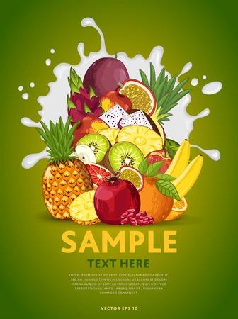 mix fruit: Fruit mix composition in milk splash vector illustration