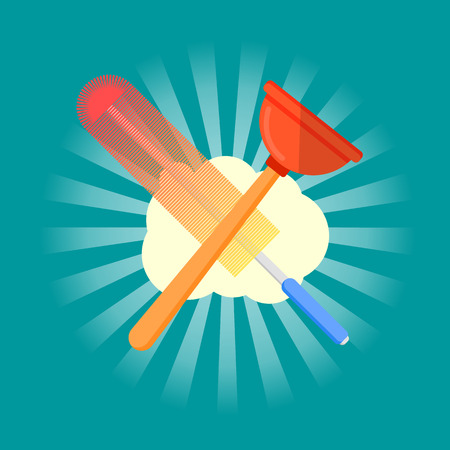 Cleaning service icon flat vector illustration