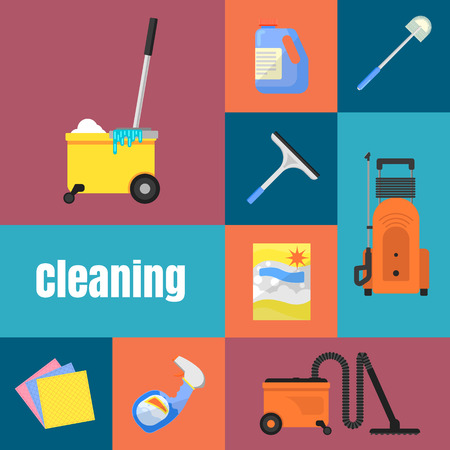 Cleaning tools concept banners flat vector illustration Illustration