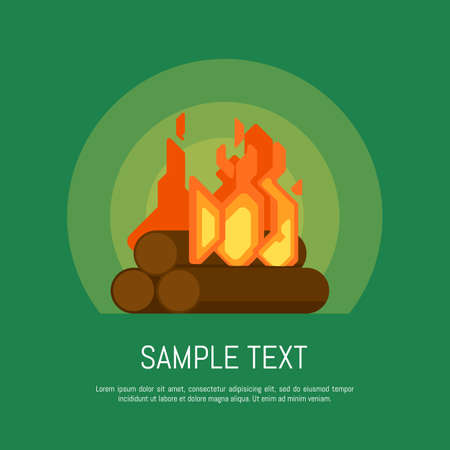 fireside: Isolated bonfire vector icon in flat design style Illustration