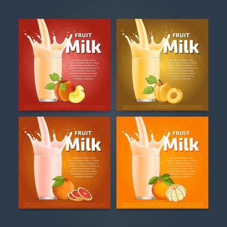 Banners of fruit milkshake dessert cocktail glass fresh drink in cartoon vector illustration