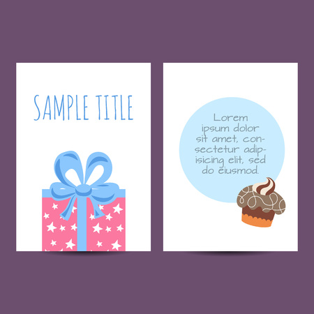 postcard: Happy birthday kids postcard template vector holiday illustration