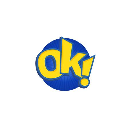 phrases: Ok phrases written in a cartoon game style yellow color with blue stroke.